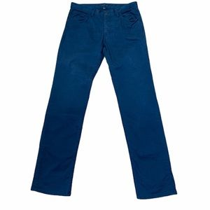 Theory High Rise Navy Button Fly Straight Leg Pant